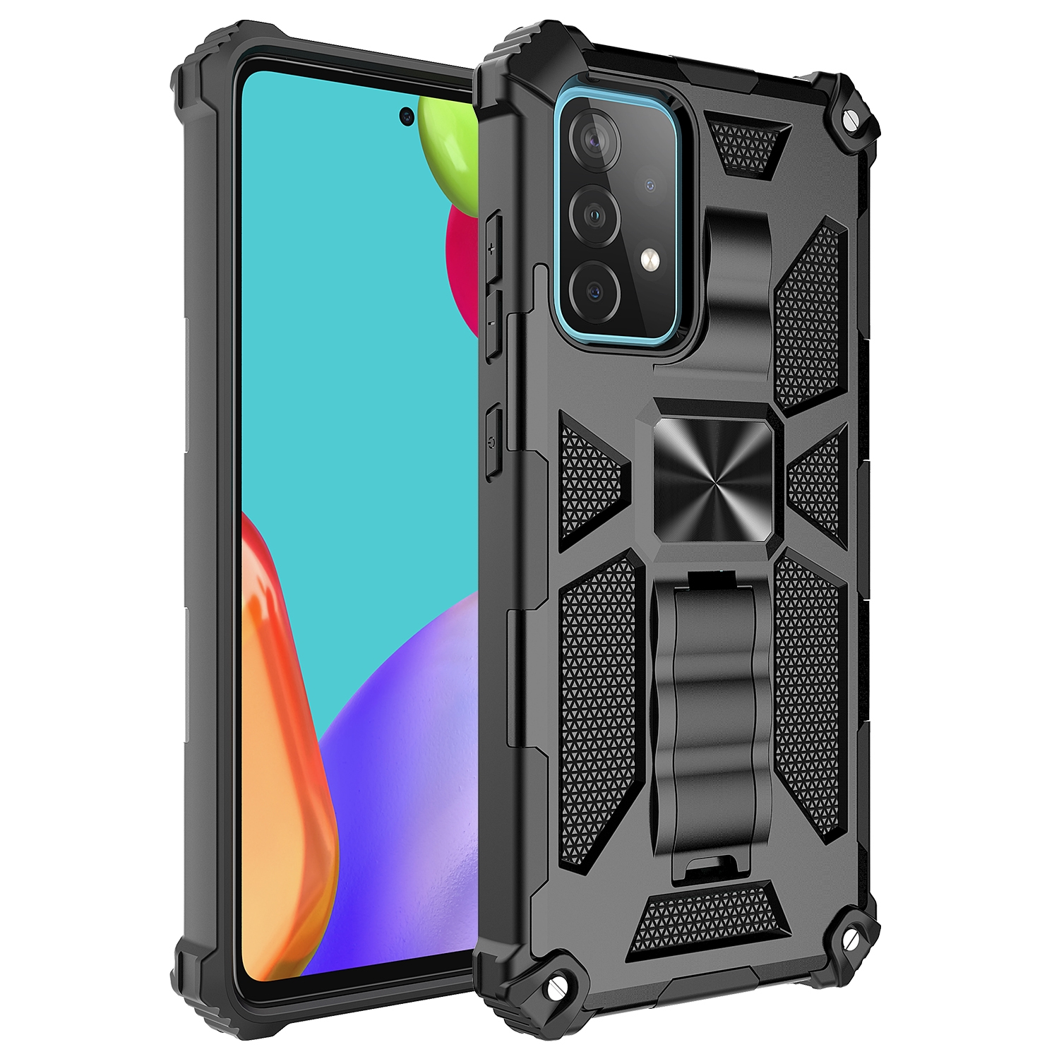 Shockproof TPU + PC Magnetic Protective Case m. Holder f. Galaxy A72 (Black)
