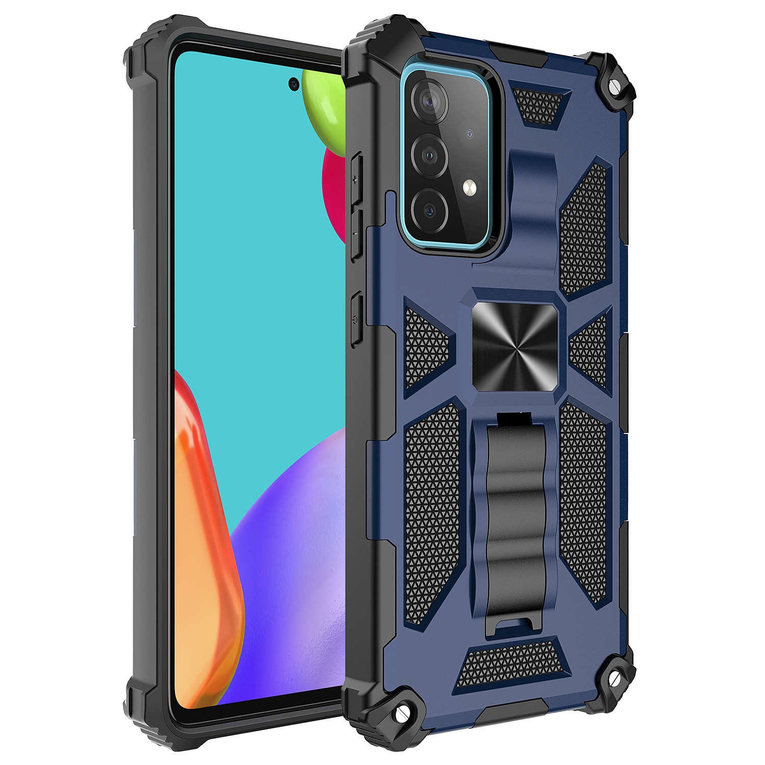 Shockproof TPU + PC Magnetic Protective Case m. Holder f. Galaxy A72 (Blue)