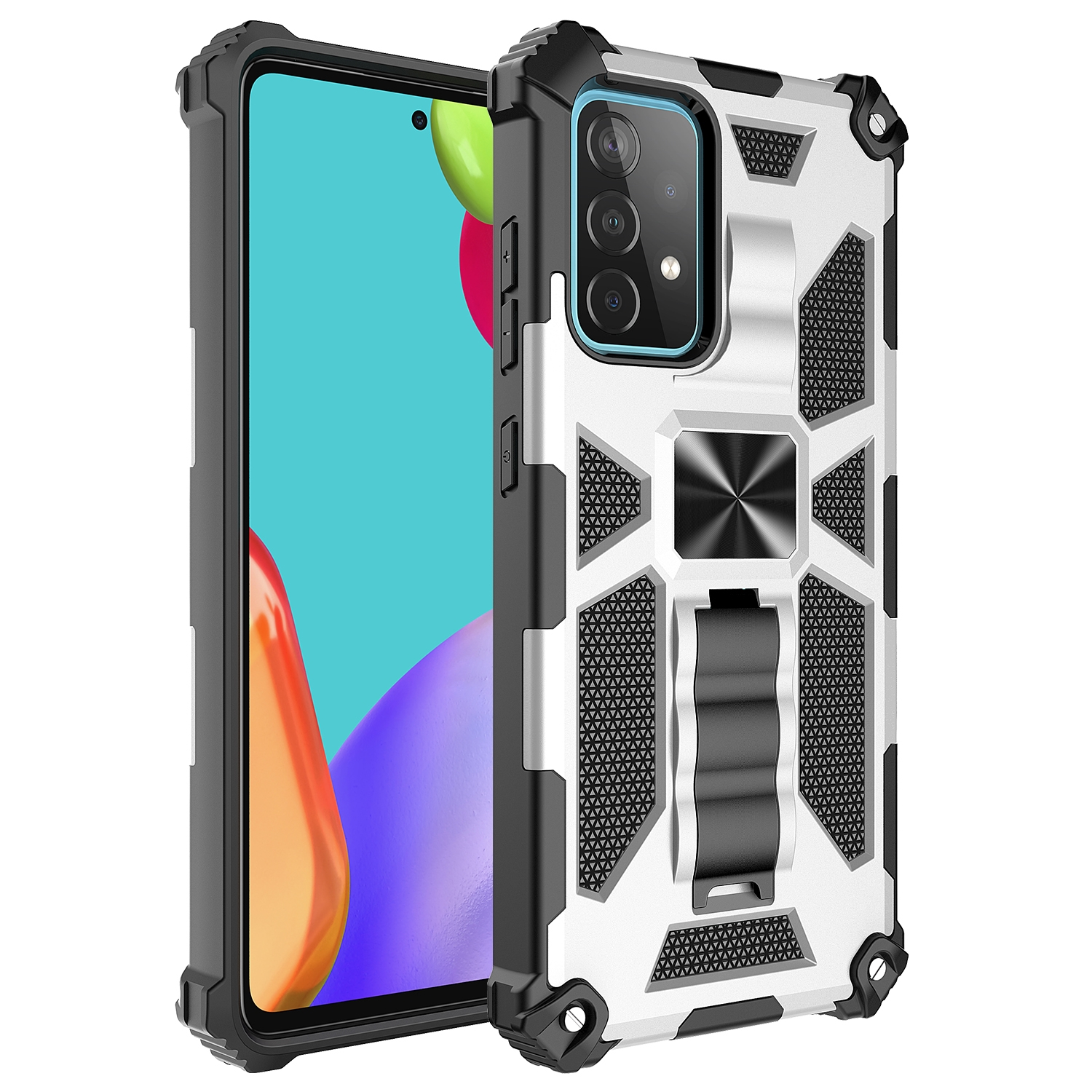 Shockproof TPU + PC Magnetic Protective Case m. Holder f. Galaxy A72 (Silver)