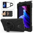 360° Swivel Kickstand PC + Silicone Tablet Case m. Pen Slot for Samsung Galaxy Tab Active 3 black1