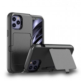 Dustproof Pressure-proof Shockproof PC + TPU Case with Card Slot & Mirror f. iPhone 12 Mini (Black)